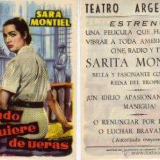 Cine: FOLLETO DE MANO CUANDO SE QUIERE DE VERAS CON SARA MONTIEL. TEATRO ARGENSOLA ZARAGOZA. Lote 53655827