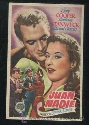 PROGRAMA JUAN NADIE. GARY COOPER, BARBARA STANWYCK. FRANK CAPRA. CON PUBLICIDAD (Cine - Folletos de Mano - Comedia)