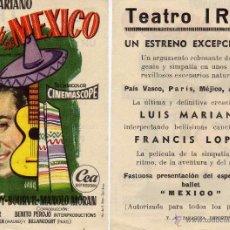 Cine: FOLLETO DE MANO EL CANTOR DE MEXICO. TEATRO IRIS ZARAGOZA. Lote 53660602