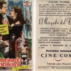 Cine: FOLLETO DE MANO EL REINADO DEL TERROR. CINE COSO ZARAGOZA. Lote 109498547