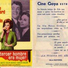 Cine: FOLLETO DE MANO EL TERCER HOMBRE ERA MUJER. CINE GOYA ZARAGOZA. Lote 70035590