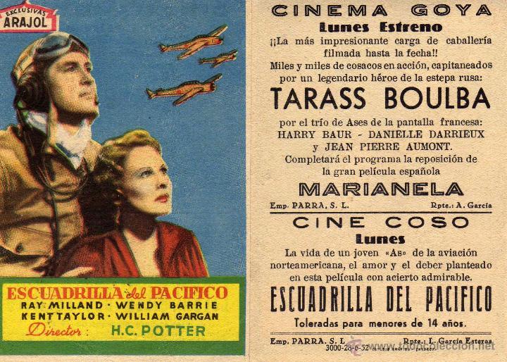FOLLETO DE MANO ESCUADRILLA DEL PACIFICO. CINE GOYA ZARAGOZA (Cine - Folletos de Mano - Bélicas)