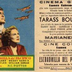 Cine: FOLLETO DE MANO ESCUADRILLA DEL PACIFICO. CINE GOYA ZARAGOZA. Lote 236911030