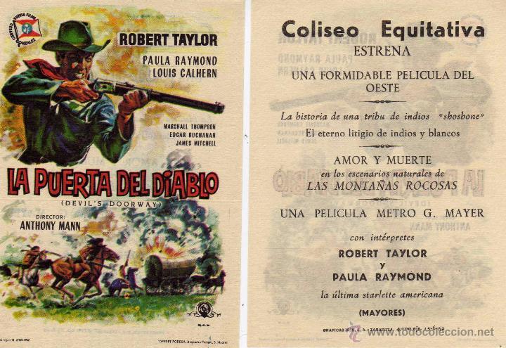 FOLLETO DE MANO LA PUERTA DEL DIABLO. COLISEO EQUITATIVA ZARAGOZA (Cine - Folletos de Mano - Westerns)