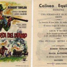 Cine: FOLLETO DE MANO LA PUERTA DEL DIABLO. COLISEO EQUITATIVA ZARAGOZA. Lote 176381425