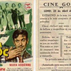 Cine: FOLLETO DE MANO LA VIDA EN UN BLOC CON ALBERTO CLOSAS Y ELISA MONTES. CINE GOYA ZARAGOZA. Lote 112327695