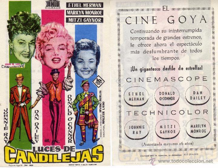 FOLLETO DE MANO LUCES DE CANDILEJAS. CINE GOYA ZARAGOZA (Cine - Folletos de Mano - Musicales)