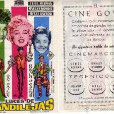 Cine: FOLLETO DE MANO LUCES DE CANDILEJAS. CINE GOYA ZARAGOZA. Lote 128401980