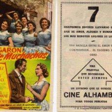 Cine: FOLLETO DE MANO LLEGARON SIETE MUCHACHAS. CINE ALHAMBRA ZARAGOZA. Lote 179028568