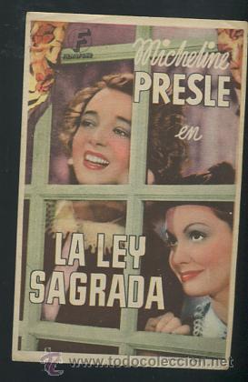 PROGRAMA LA LEY SAGRADA - MICHELINE PRESLE (Cine - Folletos de Mano - Acción)
