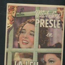 Cine: PROGRAMA LA LEY SAGRADA - MICHELINE PRESLE. Lote 53684229