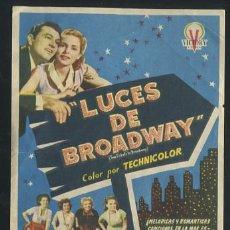 Cine: PROGRAMA LUCES DE BROADWAY - TONY MARTIN, JANET LEIGH - CON PUBLICIDAD. Lote 53684645
