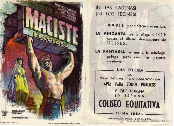FOLLETO DE MANO MACISTE EL COLOSO . COLISEO EQUITATIVA ZARAGOZA (Cine - Folletos de Mano - Aventura)