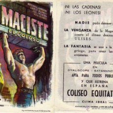 Cine: FOLLETO DE MANO MACISTE EL COLOSO . COLISEO EQUITATIVA ZARAGOZA. Lote 177842978