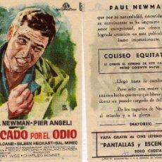 Cine: FOLLETO DE MANO MARCADO POR EL ODIO CON PAUL NEWMAN. COLISEO EQUITATIVA ZARAGOZA. Lote 223985541