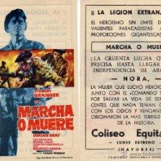 Cine: FOLLETO DE MANO MARCHA O MUERE. COLISEO EQUITATIVA ZARAGOZA. Lote 90750163