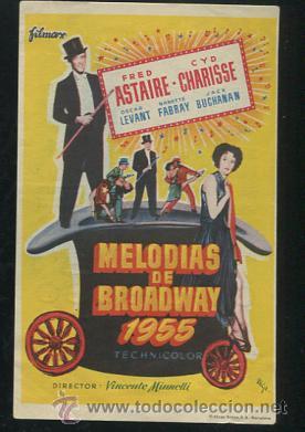 PROGRAMA MELODIAS DE BROADWAY 1955 - FRED ASTAIRE, CYD CHARISSE - CON PUBLICIDAD (Cine - Folletos de Mano - Musicales)