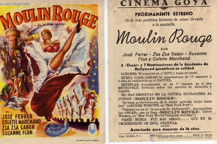 FOLLETO DE MANO MOULIN ROUGE. CINE GOYA ZARAGOZA (Cine - Folletos de Mano - Musicales)