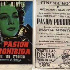 Cine: FOLLETO DE MANO PASION PROHIBIDA CON MARIA MONTEZ. CINE GOYA ZARAGOZA. Lote 53690553