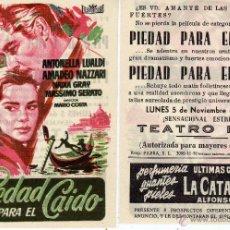 Cine: FOLLETO DE MANO PIEDAD PARA EL CAIDO. TEATRO IRIS ZARAGOZA. Lote 53690861
