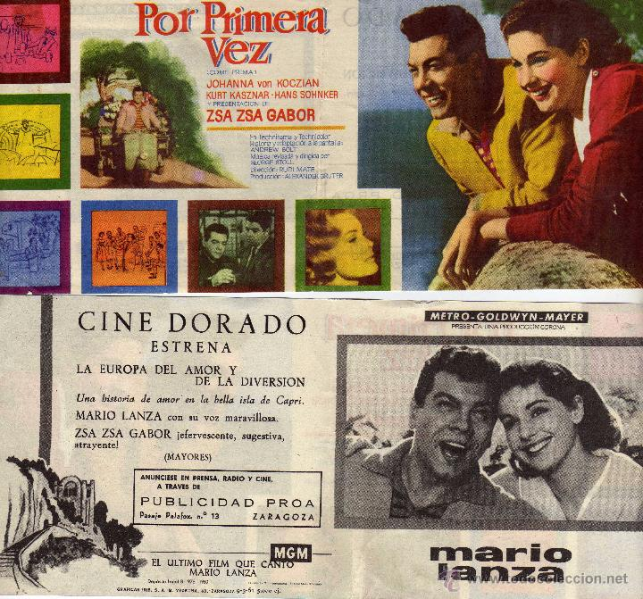 FOLLETO DE MANO DOBLE POR PRIMERA VEZ. CINE DORADO ZARAGOZA (Cine - Folletos de Mano - Musicales)