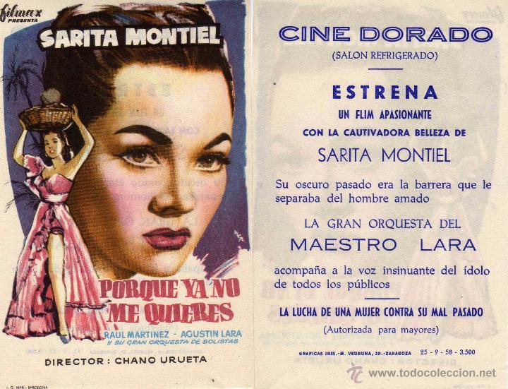 FOLLETO DE MANO PORQUE YA NO ME QUIERES CON SARA MONTIEL. CINE DORADO ZARAGOZA (Cine - Folletos de Mano - Clásico Español)