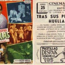 Cine: FOLLETO DE MANO TRAS SUS PROPIAS HUELLAS. CINE GOYA ZARAGOZA. Lote 53707961