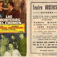 Cine: FOLLETO DE MANO LAS FRONTERAS DEL CRIMEN. TEATRO ARGENSOLA ZARAGOZA. Lote 53715395