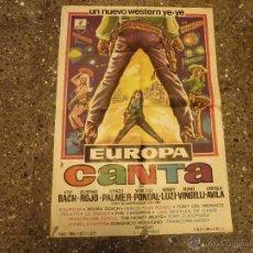 Cine: ¡¡¡ LOS BEATLES DE CÁDIZ ¡¡¡ - CARTEL ORIGINAL ESPAÑOL ESTRENO PELICULA - EUROPA CANTA - DE 1968. Lote 53715436