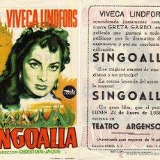 Cine: FOLLETO DE MANO SINGOALIA. TEATRO ARGENSOLA ZARAGOZA. Lote 53715909