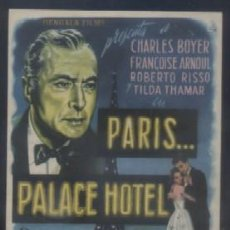Folhetos de mão de filmes antigos de cinema: PROGRAMA DE CINE: PARIS… PALACE HOTEL. PC-3489. Lote 72029182