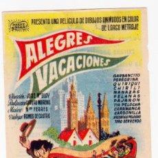Cine: ALEGRES VACACIONES. GARBANCITO, PEREGRINA, QUIRIQUI, CHIRILI. JOSÉ M. BLAY. BALET Y BLAY. CINE NUEVO. Lote 53762840