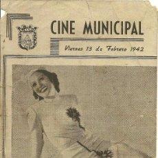 Cine: ESTRELLITA CASTRO - AMALIA DE ISAURA - CINE MUNICIPAL VIERNES 13 DE FEBRERO 1942-PUBLICIDAD AL DORSO. Lote 53797061
