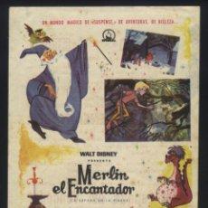 Foglietti di film di film antichi di cinema: P-6044- MERLIN EL ENCANTADOR (SWORD IN THE STONE) (CINE JUNCARIA) WALT DISNEY. Lote 53845344