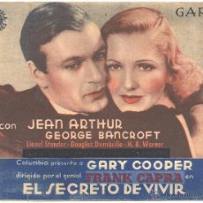 Cine: EL SECRETO DE VIVIR PROGRAMA DOBLE COLUMBIA GARY COOPER JEAN ARTHUR FRANK CAPRA CENSURADO B. Lote 53862922