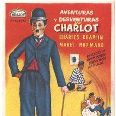 Cine: AVENTURAS Y DESVENTURAS DE CHARLOT PROGRAMA SENCILLO ARAJOL VERTICAL CHARLES CHAPLIN MABEL NORMAND. Lote 53864070