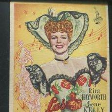 Flyers Publicitaires de films Anciens: PROGRAMA LAS MODELOS (RITA HAYWORTH - GENE KELLY - PHIL SILVERS) CON PUBLICIDAD. Lote 53964749