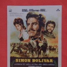 Cine: SIMON BOLIVAR, IMPECABLE SENCILLO ORIGINAL, MAXIMILIAN SCHELL FRANCISCO RABAL, SIN PUBLICIDAD. Lote 53980278
