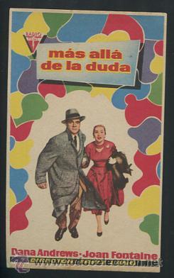 PROGRAMA MÁS ALLÁ DE LA DUDA - DANA ANDREWS, JOAN FONTAINE (Cine - Folletos de Mano - Aventura)