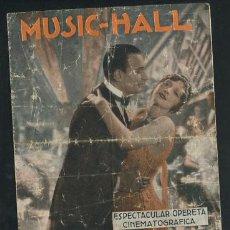 Cine: MUSIC HALL, DOBLE, MÚSICA DE ROBERT STOIZ, PROGRAMA AÑOS 30 CON PUBLICIDAD. Lote 53983683