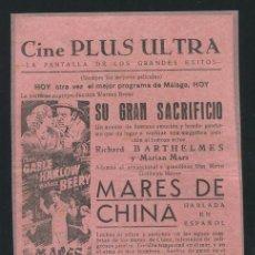 Cine: MARES DE CHINA PROGRAMA MGM CLARK GABLE JEAN HARLOW WALLACE BEERY CON PUBLICIDAD. Lote 53988460