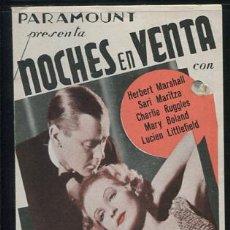Cine: NOCHES EN VENTA PROGRAMA DOBLE PARAMOUNT HERBERT MARSHALL SARI MARITZA MARY BOLAND CON PUBLIDIDAD. Lote 53989328