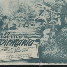 Cine: PROGRAMA DIPTICO - OBJETIVO BIRMANIA - ERROL FLYNN - RAOUL WALSH CON PUBLICIDAD. Lote 53999949