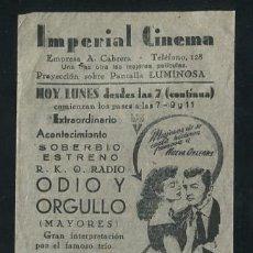 Cine: PROGRAMA ODIO Y ORGULLO - AVA GARDNER, ROBERT MITCHUM, MELVYN DOUGLAS - CON PUBLICIDAD. Lote 53999964