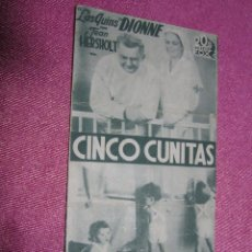 Cine: CINCO CUNITAS PROGRAMA CINE AÑOS 30 BUEN ESTADO.CON PUBLICIDAD. Lote 54017322