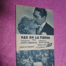 Cine: PAZ EN LA TIERRA PROGRAMA CINE AÑOS 30 TIPO TARJETA .CON PUBLICIDAD DINDURRA GIJON. Lote 54017465