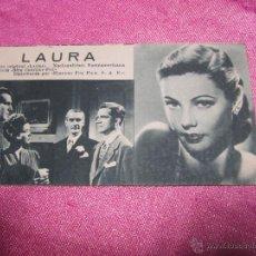 Cine: LAURA PROGRAMA CINE AÑOS 30 TIPO TARJETA BUEN ESTADO.CON PUBLICIDAD.. Lote 54017582
