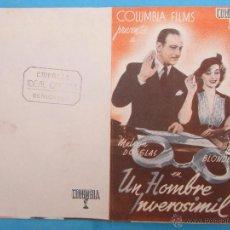 Cine: UN HOMBRE INVEROSIMIL , IDEAL CINEMA BENICARLO . Lote 54028301