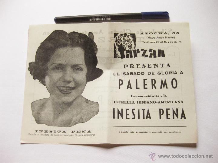 FOLLETO TEATRO DE ATOCHA 60. TARZAN PRESENTA EL SABADO DE GLORIA A PALERMO. INESITA PEÑA (Cine - Folletos de Mano - Clásico Español)