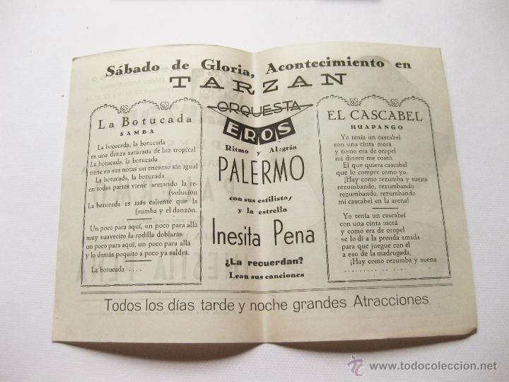 Cine: FOLLETO TEATRO DE ATOCHA 60. TARZAN PRESENTA EL SABADO DE GLORIA A PALERMO. INESITA PEÑA - Foto 2 - 54047367